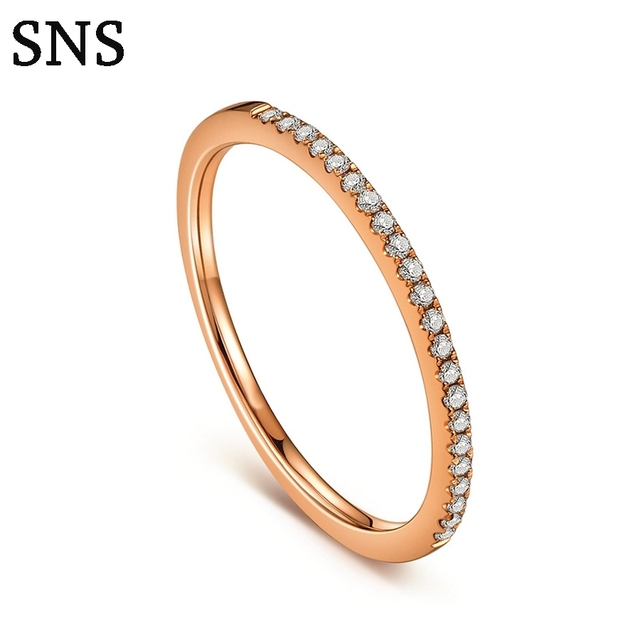 Half Eternity Ring Solid 14k Rose Gold 0.1CT Natural Diamond Women Engagement Wedding Band Trendy Fine Jewelry Gift