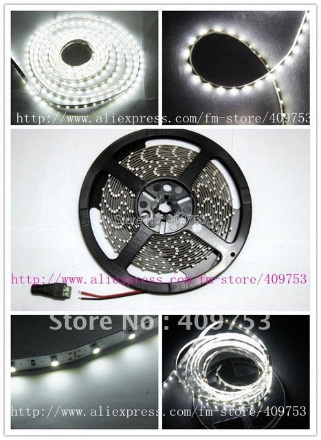 5M 300 LED 3528 SMD 12V flexible light 60 led/m, NON WATER PROOF led strip white/warm white/green/blue/red/yellow