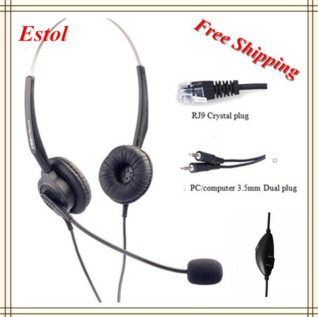 Free shipping 3.5mm dual plugs compluter headset volume adjustable mute key call center earphone headphone binaural double ears