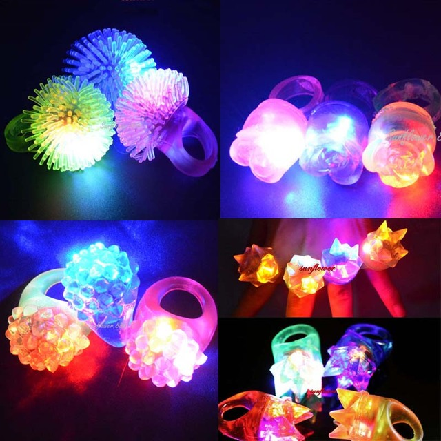 Children Adults LED Flashing Light Ring Blinking Jelly Finger Rings Jewelry Gift Glow Party Concert Bar Birthday Toy Gift