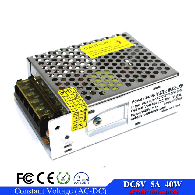 ac-dc 8v 5A 40W Regulated Switching Power Supply AC110v 220v to dc Power Supplies for Industrial SMPS