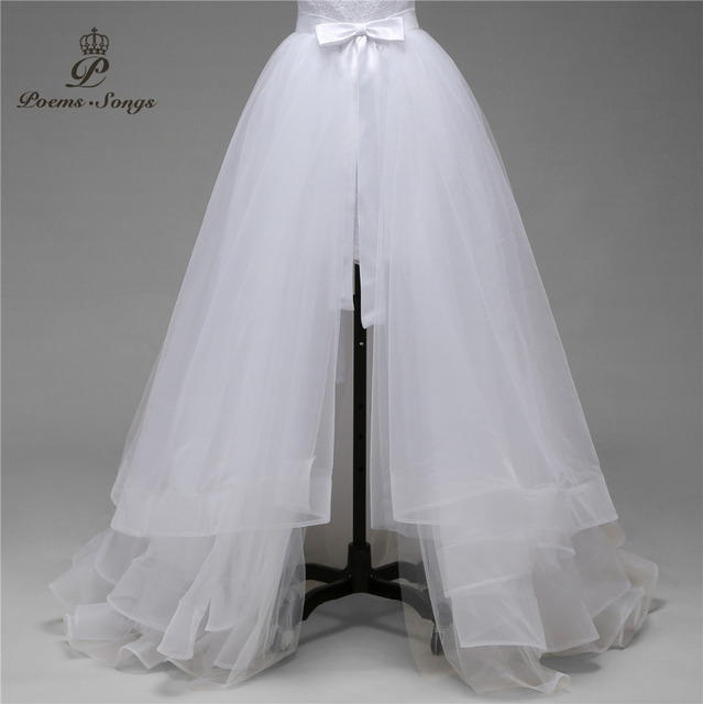Free shipping high quality only sale fives layers of silky organza detachable train not included wedding dress
