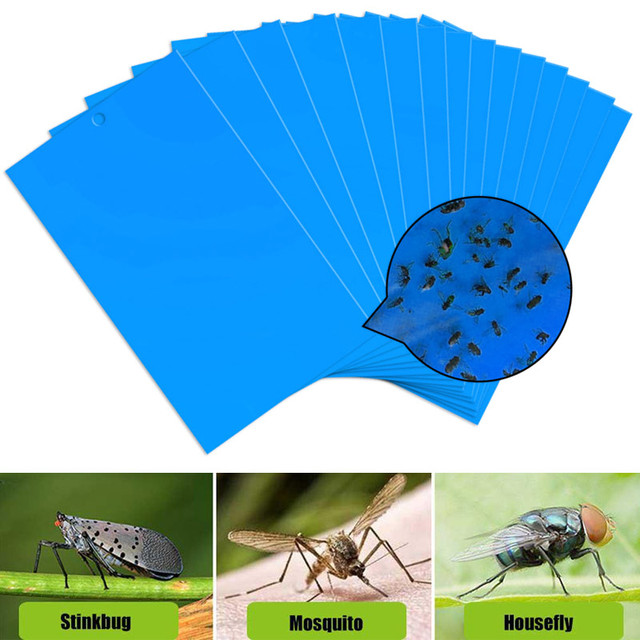 Pest Killer 20pcs Double Side Economic Bugs Sticky Board Aphids Blue Board Convenient Strong Flies Traps Drop Shipping