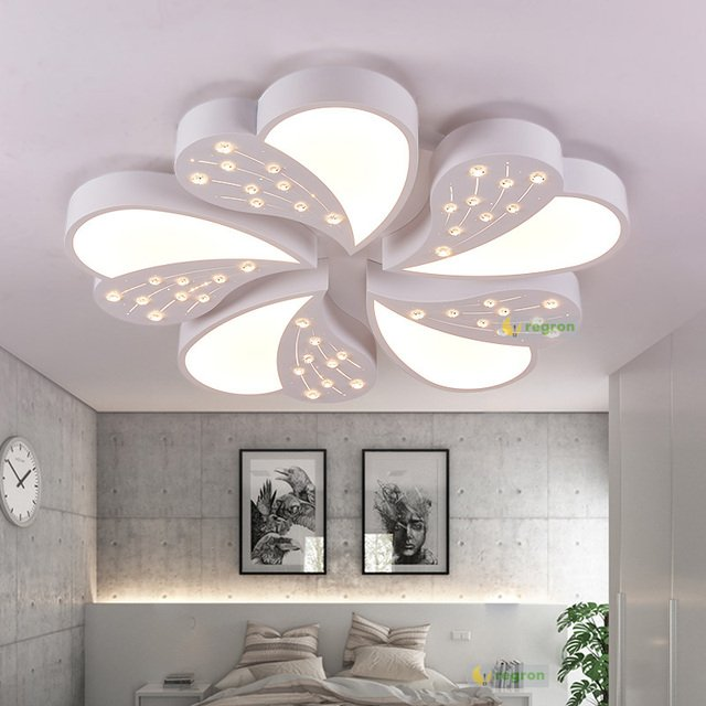 Modern K9 Crystal  Bead AC90-260V LED Acrylic Ceiling Lamp Living Light Simple Warm And Round New White Ceiling lights Fixtures