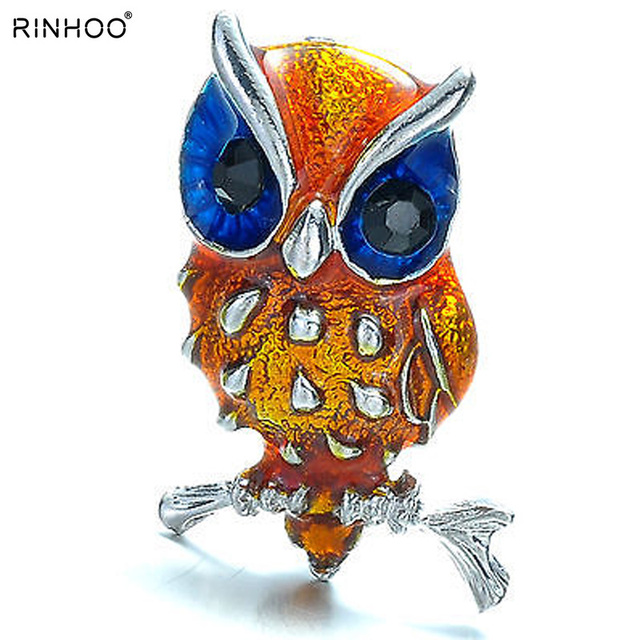 Owl Bird Animal brooch pins cute yellow small eagle silver plated rhinestone brooch bule eyes women crystal brooches jewelry