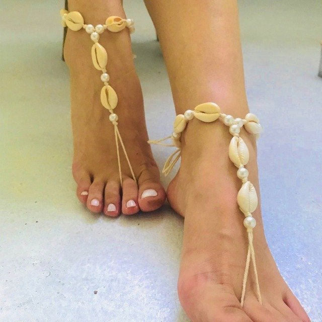 Dvacaman Fashion Designs Shell Anklet Women 2019 Vintage Handmade Simulated Pearl Anklet Summer Beach Foot Jewelry Party Gifts
