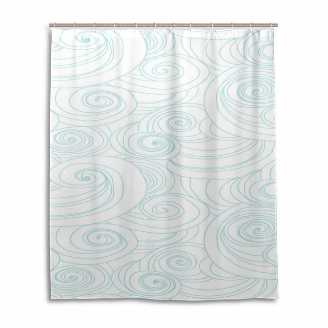 Bath Shower Curtain Japanese Blue Wave FlowerWaterproof Polyester Fabric Bathroom Curtain