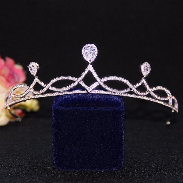Micro Paved CZ Zircon Stone Tiara Princess Bride Wedding Headband Crown Hair Accessories Clear Cubic Zirconia Headdress Women
