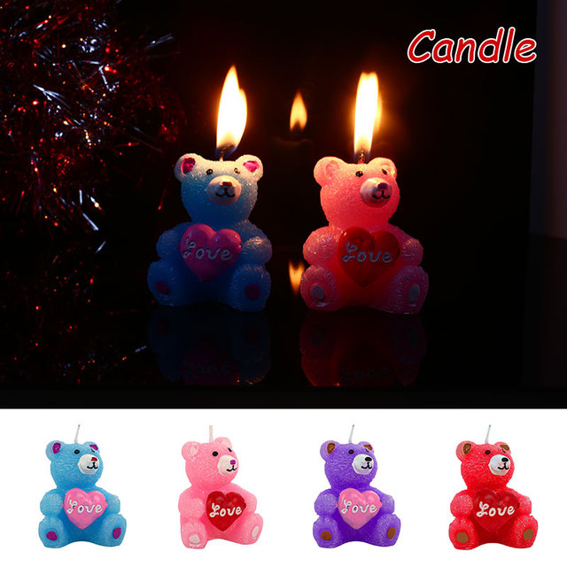 Paraffin Beautiful Candle for Valentine'S Day LOVE for Bear Gift Candles Party Bougie Atmosphere for Kitchen Dropshipping