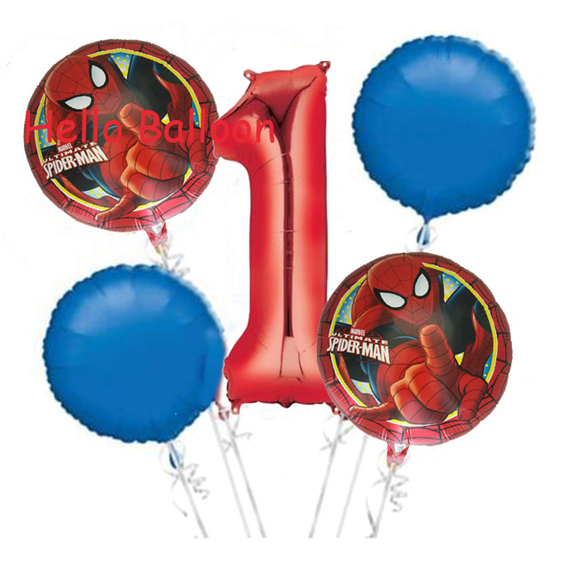 Wholesale 5pcs/lot The Spiderman Foil Balloon 1st Birthday Party Decorations Red Number Helium Balloon Spider man Ballon