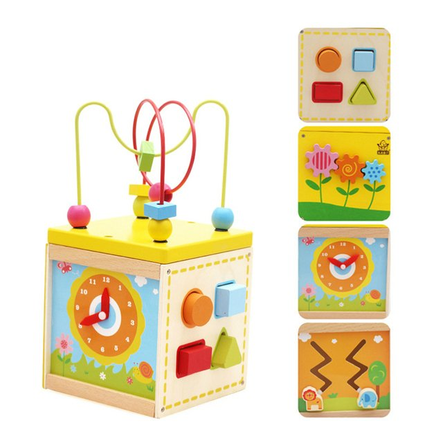 Baby Wooden 5 In 1 Around The Beads Clock Treasure Box Kids Toys Puzzles Children Educational Interactive Early Learning Toys