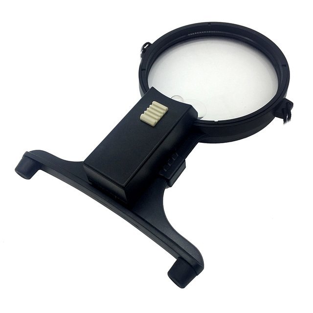 2x 4x Dual Power Hands Free Magnifier Soldering Stand Illuminated Magnifiying Glass with Neck Strap and Light for Low Vision