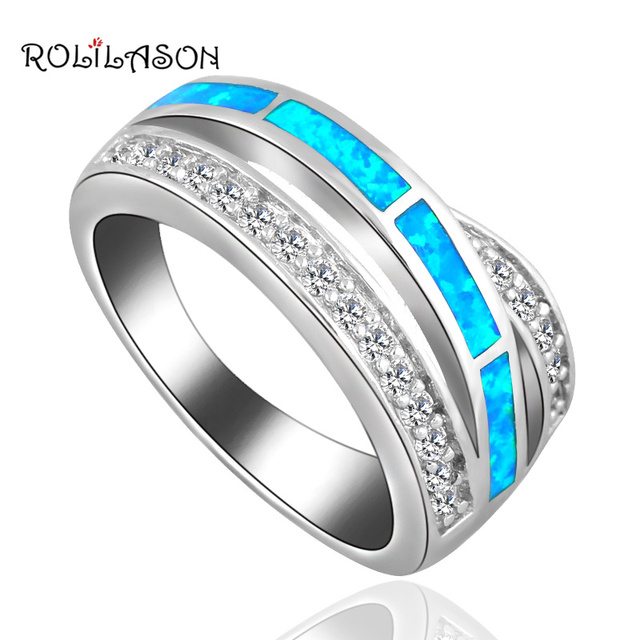 CZ Rings for Women Blue Fire Opal silver color Stamped Party  Jewelry Cheap Rings for Women USA Sz #6#7#8#9 OR813