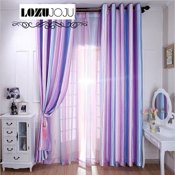 LOZUJOJU Free shipping rainbow full shade fabric stripe blackout curtain for bedroom curtains