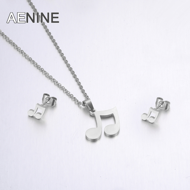 YiKLN Fashion Stainless Steel Sets For Women Steel Color Musical Notes Shape Necklace Earrings For Lover's Engagement Jewelry