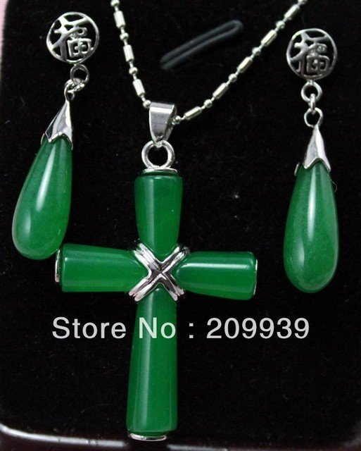 huij 0013 free ship Set of Green Jade Necklace Earring Set