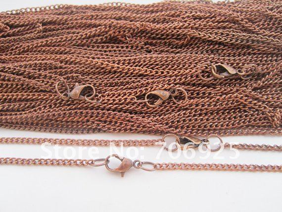 Free shipping Wholesale  60cm Antique copper plated  necklace chain with lobster clasp 2mmx3mm 40pcs/lot