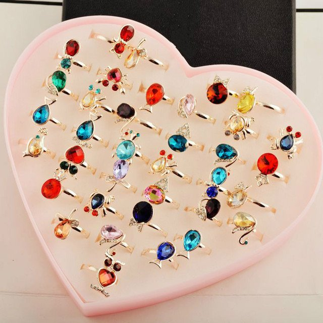 MYDANER Fashion 36Pcs Mixed Lots Rings Wholesale Jewelry Lots Crystal Rhinestone Multicolor Mixed Pattern Rings Cute Sweet Rings