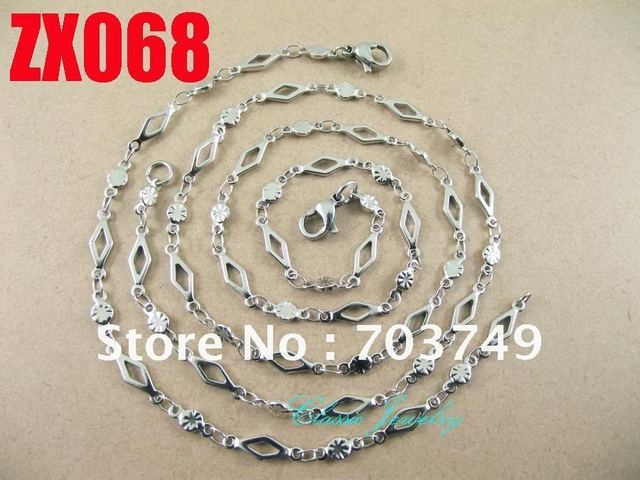 Wholesale  his-and-hers stainless steel  plum blossom chain necklace bracelet set fashion men's women jewelry 10set ZX068