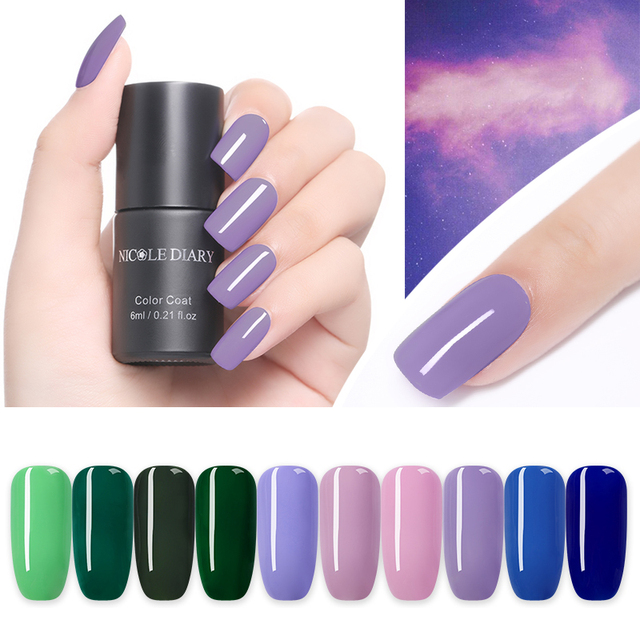NICOLE DIARY 6ml One-step Nail Gel Polish UV Gel Soak Off Purple Green Blue Series Base Coat No Need Gel Polish Nail Decoration