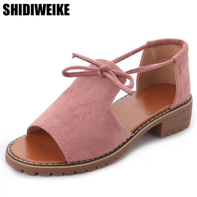 2020 New summer Thick with Sandals Female Summer Fish Mouth Buckle Roman Shoes Solid Color Low-heeled Women Sandals size 35-40
