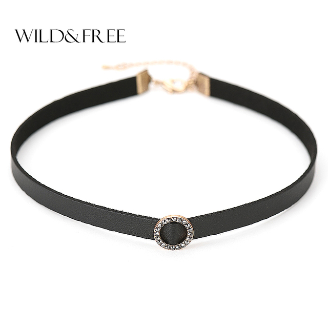 2017 Direct Selling Collier Maxi Necklace Collares Wild & Free Women Leather Choker Necklace Antique Circle Pendant Jewelry