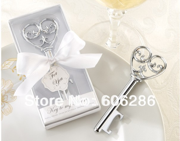 50pcs/lot  Cheap Wedding Favors door gift Key To My Heart Victorian Style Bottle Opener