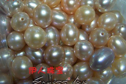 44pcs/lot 8-9mm Size, Freshwater Loose Pearls, NATURAL! Oval Shape Beads, White&Orange&Purple 3 Color, HALF DRILLED