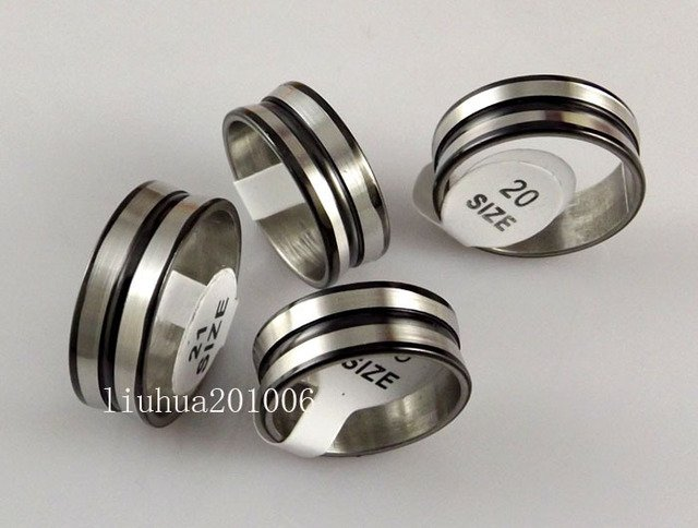 36 pcs New black stripe Band Mens Stainless Steel Rings Wholesale Fashion Jewelry