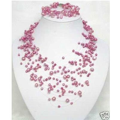 Stunning!Pink rose pearl necklace & bracelet Pearl jewelry AA 4-8MM Pink color Grenuine freshwater pearl necklace bracelet FN16