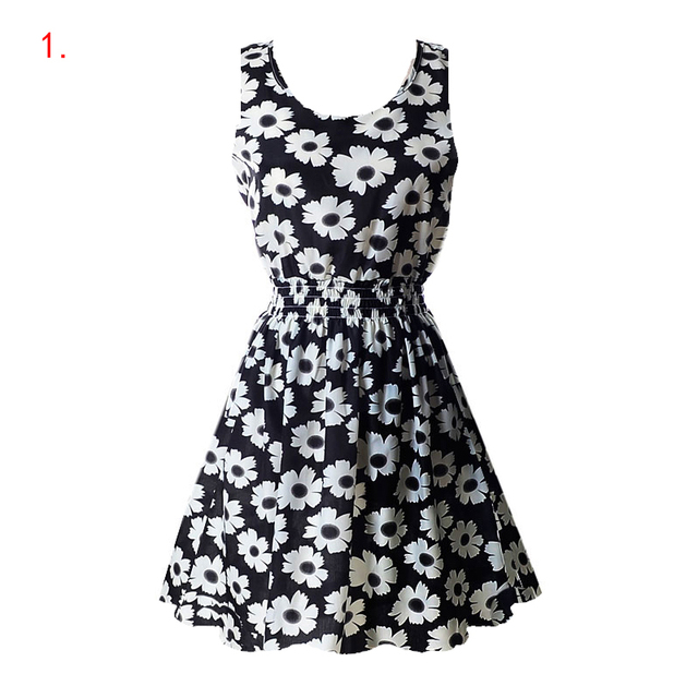 Summer Floral Printed Loose A-Line Dress Women O-Neck Sleeveless Patchwork Dresses Casual Sundress Female Vestidos