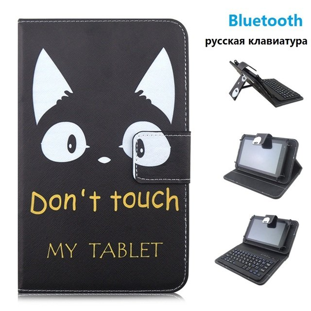 9.7 10 inch Bluetooth Russian keyboard Cat PU Leather Material Stand Case Keyboard for Tablet PC