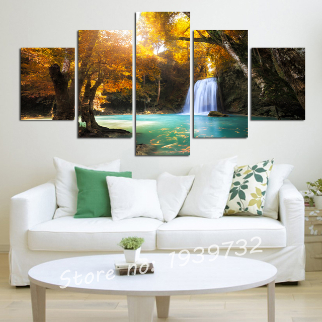 5 piece canvas wall art Red tree painting Tree of life Painting on canvas tree Maple leaf Large wall Decoration unframed F1716