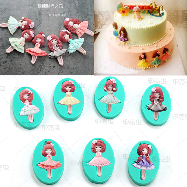Girl princess boy doll silicone chocolate candy mold clay mould baking tool