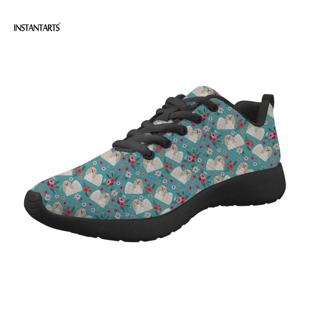 INSTANTARTS Men Sport Running Shoes Shih Tzu Flower Print Women Sneakers Breathable Mesh Outdoor Athletic Shoes Light Male Shoes