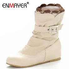 ENMAYER New Boots  Arrivals Soft Leather Ankle  Buckle Women  Flats Winter Shoes Ladies  Autumn