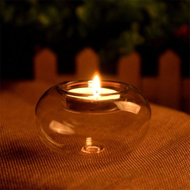 Glass Round Candlestick Tea Light Stand Crystal Candle Holder Practical European Gift Desktop Decor