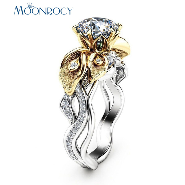 MOONROCY Cubic Zirconia CZ Crystal Rings Vintage Wedding Ring Silver Color Flower Gift Dropshipping  Jewelry for Women Girls