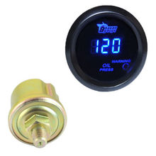 "Pod Black Blue LED 2"" 52mm Universal Digital Cool 0 120 PSI Oil Pressure Gauge Car Styling Oil Press Meter Auto Free Shipping"