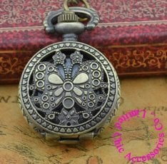Coupon for wholesale buyer price good quality new bronze vintage retro nice beautiful mini butterfly pocket watch necklace hour