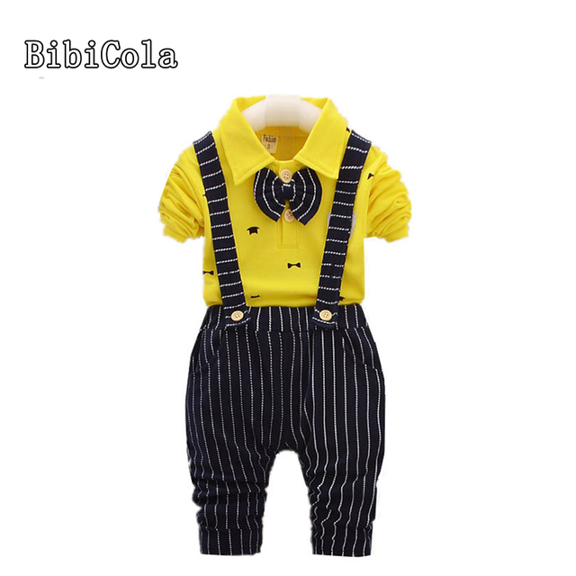 BibiCola infant baby boy clothing set children boys stripe Bib+long sleeve T-shirt 2pcs suit autumn kids boys fashion sport sets