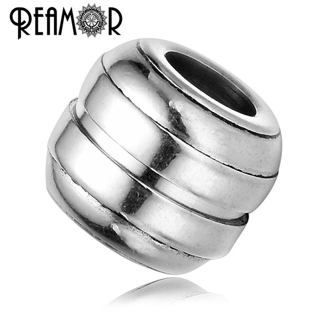 REAMOR 10pcs/lot Stainless Steel Spacer Beads 6mm Large Hole Charm Beads For DIY Men Bracelets Jewelry Making Findings