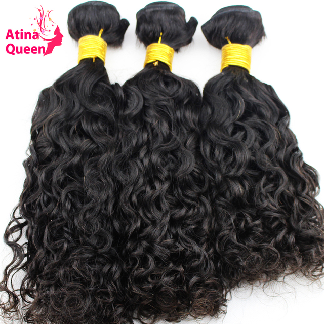 Atina Queen Hair Products Water Wave Brazilian Hair 3 Bundles 100% Human Hair Weave Remy Hair Natural Black Color for Women
