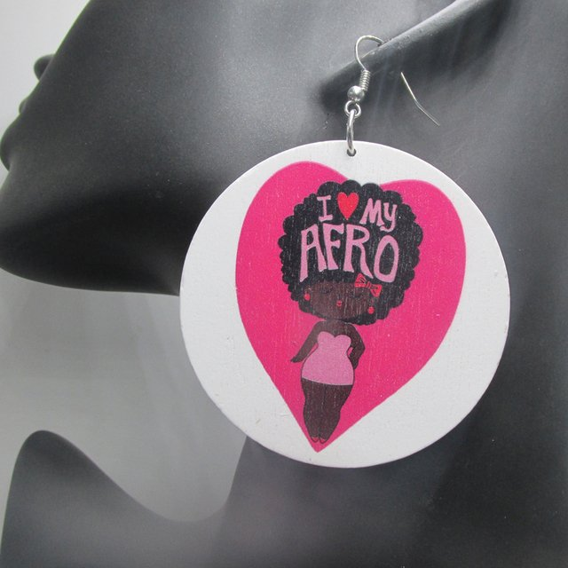 Free Shipping! I love my Afro Wood Earrings