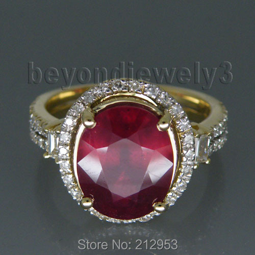 Vintage Oval 8x10mm 3.85Ct Solid 14kt Yellow Gold  Red Ruby  Engagement Ring for Women Jewelry