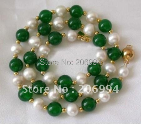 """Lowest 7-8mm white freshwater pearl green stone necklace 18"""" pearl Jewelry fashion jewellery"""