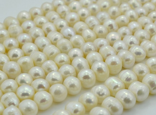 Wholesale Pearl Necklace Strand String Jewelry Beads Accessory, 10-11mm Super Big Size, Potato Shape, White Color
