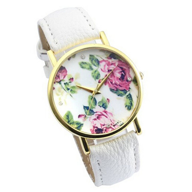 Women Watches Fashion Rose Leather Band Flower Print Quartz Analog Simple Casual Wrist Watch For Women
