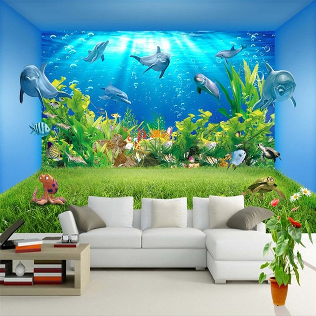 Custom 3D Wall Murals Wallpaper Underwater World Dolphin Creative Stereoscopic Space Living Room TV Background Wall Painting Art