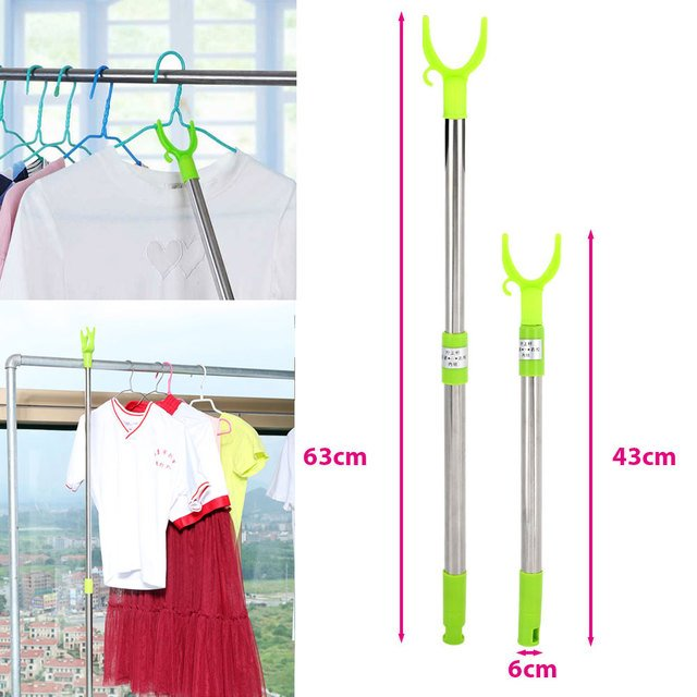Clothes Fork Practical Home Furnishing Green Hanger Stainless Steel Retractable Clotheshorse Tool Coat Hanger Clothesline Pole
